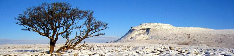 Photograph of Ingleborough in the snow